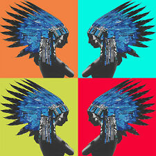 Blue Indian Native American Feather Chief Pop Art Stencil Street Pop Print