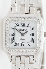 Estate $7000 Swiss GENEVE Panther 14k White Gold .75ct Diamond Ladies Watch