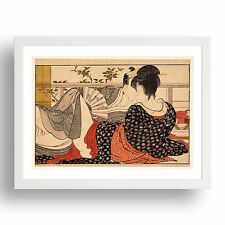 "lovers in bed, Graphic Erotic ukiyo-e  Japanese Shunga, 12x9"" White Frame"