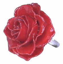 Adjustable Rose Blossom Ring Made With REAL PRESERVED ROSE - Red