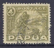 1932-1940 PAPUA 4d OLIVE GREEN USED SG135 our ref F35