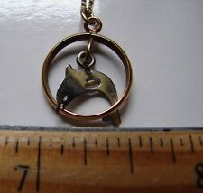 "Sterling Dolphin in Gold Tone Ring Necklace w/14K Yellow GF 18""Chain Gold Filled"