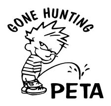 Gone Hunting Calvin Peeing on PETA.Unique Vinyl Graphic Decal Car Window Sticker