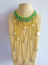Gold Roman Coins Tassel Fringe Green Chain Bohemian Necklace