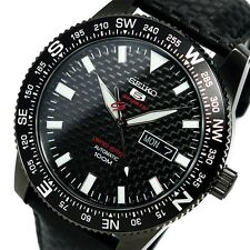 NEW MEN'S LIMITED EDITION SEIKO 5 SPORTS 24 JEWEL AUTOMATIC CARBON DIAL SRP719K1