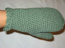 HANDMADE Knit CROCHETED Pair of MITTENS Gloves GREEN Womens size SMALL to MEDIUM