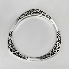 Retro Style 925 Sterling Silver Plated Black Etched Bangle Bracelet Jewelry