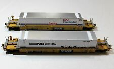 Two (2) Walthers HO Scale Trailer Train Husky Stack Cars with Containers