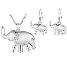 925 Sterling Silver Filled Elephant Earrings Necklace Set Women Jewelry