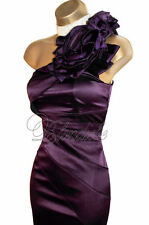 KAREN MILLEN Exquisite Purple Satin Rose Corsage Dress UK 8  Weddings Races