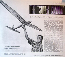"Vintage SUPER CONDOR 84"" Sailplane RC Update Model Airplane PLAN + Article"