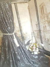 "! nuevo! enorme Plata clásica francesa Damasco sublime Seda 120""D52""W Interlined Cortinas"