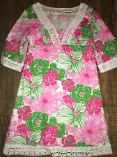 LILLY PULITZER - 'SHERMAN' Pink Green Floral Linen Tunic Dress - Size 6 EUC HTF