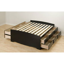 "Black Wood Tall Full 12 Drawer Captain's Platform Storage Bed 57""x 27""x 76.5"""