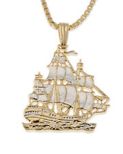 "Clipper Ship Pendant Necklace. Hand cut Chinese Coin - 7/8"" width ( # 567 )"
