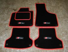 "Black/Red Car Mats - Audi A3 8P LHD (2003-2012) + ""S-Line"" Logos (x4) + Fixings"