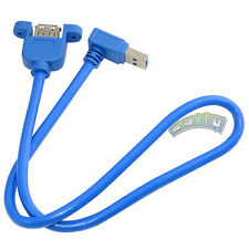 3FT USB 3.0 A Female Jack Panel Mount to Male Plug Up Angled Adapter Cable 1M