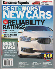 CONSUMER REPORTS BEST & WORST NEW CARS 2013, JUST IN RELIABILITY RATINGS.