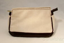 NEW Estee Lauder Beige Brown Faux Suede Travel Makeup Bag Pouch Zippered Pouch