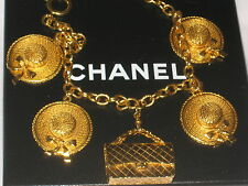 CHANEL CHARMS HATS HANDBAG GOLD COLOR NECKLACE CHAIN CC LOGO STAMPED 15.5'' LONG