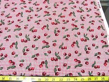"""BTY RED CHECK GINGHAM CHERRIES PRINT COTTON FABRIC 41"""" WD MBT"""