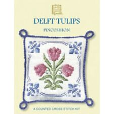 Red Delft Tulips Counted Cross Stitch Pin Cushion Kit by Textile Heritage DTPC