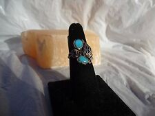 Native American Navajo ring sterling silver NEW 7 signed turquoise nuggets leaf
