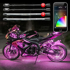 XKGLOW 8 Pod 4 Strip XKchrome iOS Android App Motorcycle LED Accent Light Kit