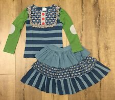 Persnickety sz 5 Blue Stripe Lou Lou top & Audrey skirt Jeweled Forest collectio