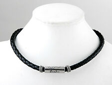 Tibetan Silver Black Gothic Men Leather Braided Necklace Choker 0.43""