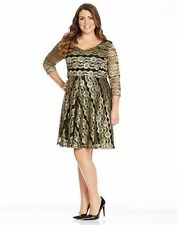 Autograph GOLD lace sparkle nights Black lined dress Size 26 NEW 3/4 sleeves NEW