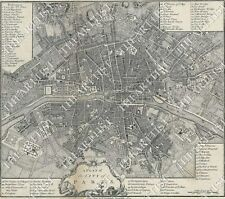 HUGE VINTAGE historic A PLAN OF THE CITY PARIS FRANCE 1800 OLD STYLE STREET MAP