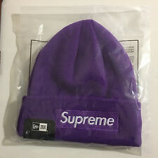 SUPREME X NEW ERA FW16 BOX LOGO BEANIE PURPLE O/S RARE LOOSE GAUGE CAMP CAP NYC