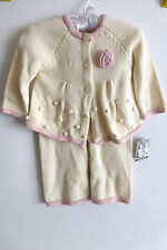 NWT Piper & Posie Knitted Girl Outfit White with Pink Cardigan Pants 6-9m