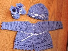 Handmade crochet purple lilac ribbon baby girl sweater hat & booties set 3-6 m