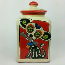 Day of the Dead Ceramic Pottery Dia de los Muertos Chihuaha Dog Biscuit Jar
