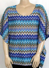 NEW Style & Co. PLUS 1X Kimono Sleeve Printed Zigzag Top FLAME BLUE