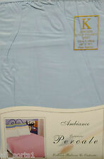KING SIZE FITTED VALANCE SHEET SKY BLUE 180 THREAD COUNT PERCALE POLY COTTON