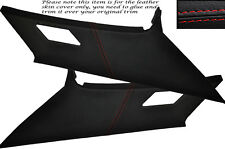RED STITCH 2X REAR C PILLAR LEATHER COVERS FITS BMW 3 SERIES E36 COUPE 91-98