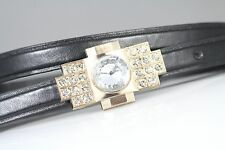 VINTAGE CLEAR  DIAMANTE  GOLD BUCKLE BLACK SKINNY BELT ONE SIZE