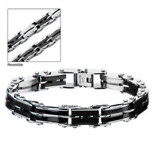 Men'S Stainless Steel And Ip H-Link Inox Jewelry Reversible Bracelet