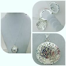 """.925 STERLING SILVER FAMILY TREE OF LIFE ESSENTIAL OIL DIFFUSER NECKLACE 18"""""""
