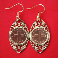 1970 SWITZERLAND 1 Rappen Cross Oat Sprig BU Unc Coins Gold Plated Earrings NEW