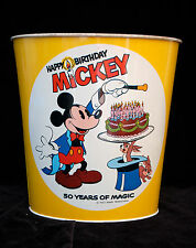 WALT DISNEY HAPPY BIRTHDAY 50 YEAR MICKEY MOUSE METAL TRASH CAN WASTE BASKET USA
