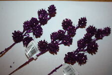 "3 x PURPLE GLITTER PINE CONE SPRAYS / PICKS 23cm / 9"" WIRED STEMS CRAFT FLORAL"