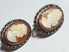 Victorian Era c.1890 Sterling Silver Cameo Clip Earrings