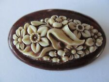 VINTAGE DEEP CREAMY TONE CARVED FLORAL CELLULOID PLASTIC w/WOOD BASED BROOCH PIN
