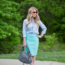 NWT Tiffany Blue The Pencil Skirt Knee Length Cotton 0
