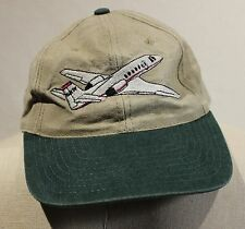 Airplane Jet Baseball Hat Cap Aviation Pilot Adjustable Strap Brown Green