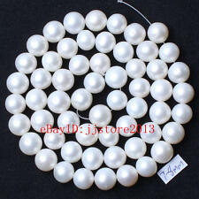 7-8mm Natural Nearly Round White Freshwater Pearl Loose Beads Strand 15""